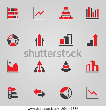 Graphs and Charts Icon Set - stock vector