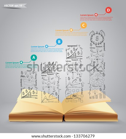 Graphs and charts, Successful business plan concept idea graph going up on book, Vector illustration Modern template Design - stock vector