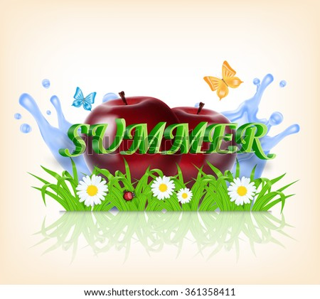 Grass and apple on a background of splashing water. Red apple. Summer time. Time for a picnic. Vector background. EPS10 vector