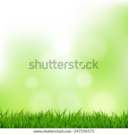 Grass And Bokeh With Gradient Mesh, Vector Illustration - stock vector