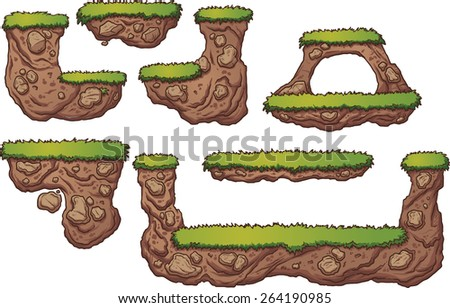 Grass and dirt platforms. Vector clip art illustration with simple gradients. Each on a separate layer.  - stock vector