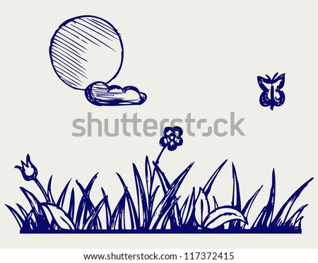 Grass and flower. Doodle style - stock vector