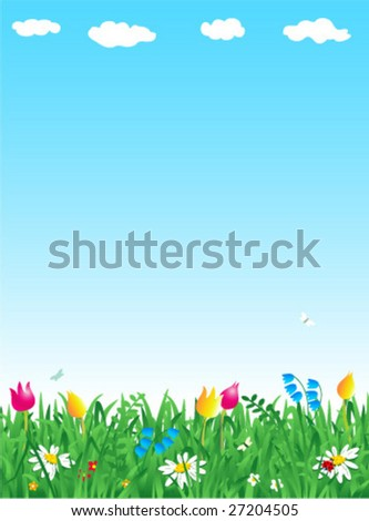 Grass and flowers spring vertical vector background ( for high res JPEG or TIFF see image 27204508 )  - stock vector