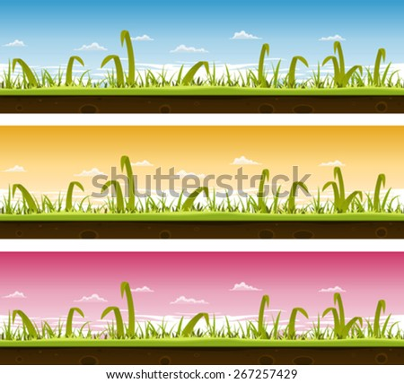 Grass And Lawn Landscape Set/ Illustration of a set of seamless horizontal spring or summer landscapes with green blades of grass layers, thin and big leaves and ground soil view for ui game - stock vector
