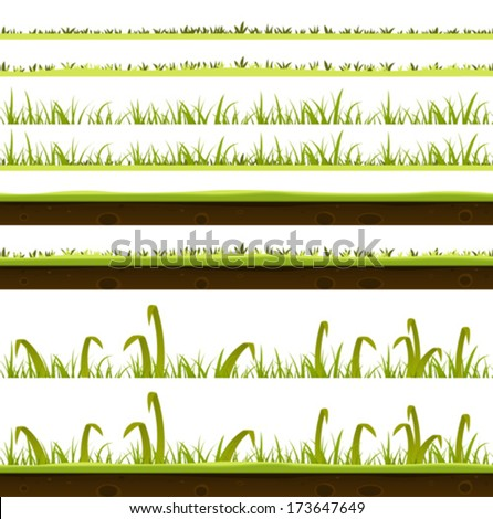 Grass And Lawn Layers Set/ Illustration of a set of various green blades of grass layers templates, with thin and big leaves and ground soil view for spring or summer time foreground - stock vector
