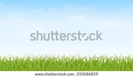 Grass and Sky � Seamless. Grass and sky with faint clouds. This image tiles seamlessly horizontally.   - stock vector