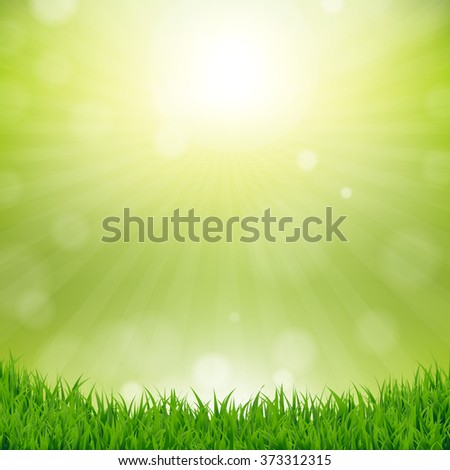 Grass Border With Nature Background With Gradient Mesh, Vector Illustration - stock vector
