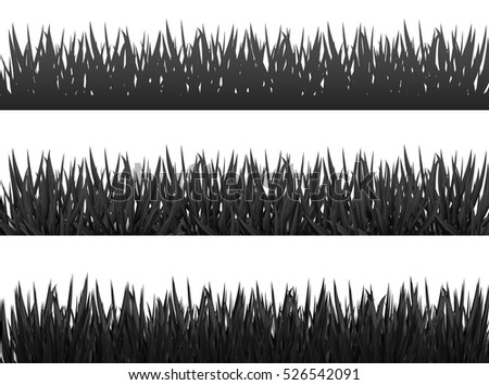 Grass borders silhouette set on white background vector