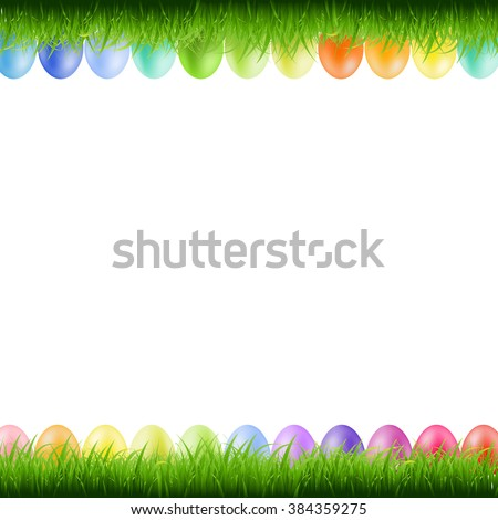 Grass Borders With Easter Eggs With Gradient Mesh, Vector Illustration - stock vector