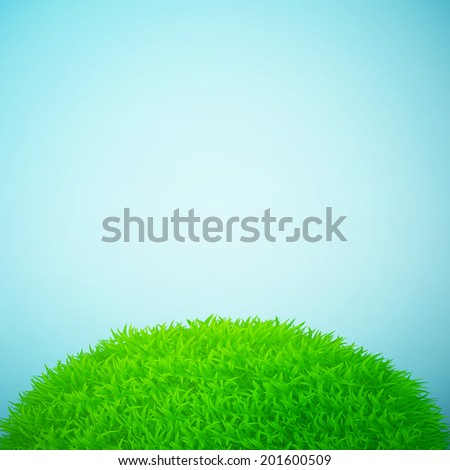 Grass field and blue sky eps10 vector illustration - stock vector