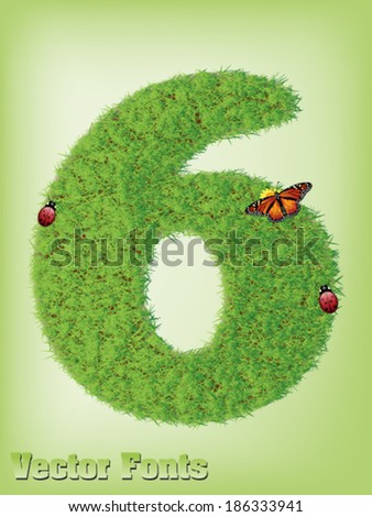 Grass font number 6 - stock vector