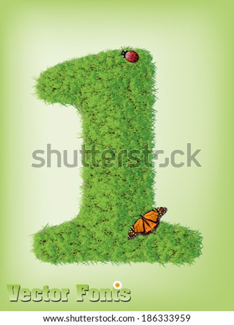 Grass font number 1 - stock vector