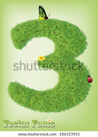 Grass font number 3 - stock vector