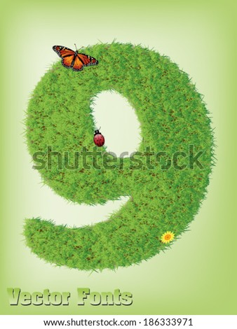 Grass font number 9 - stock vector