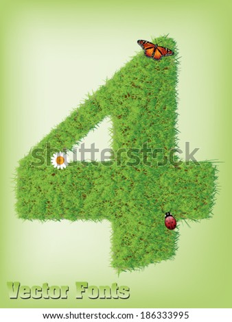Grass font number 4 - stock vector