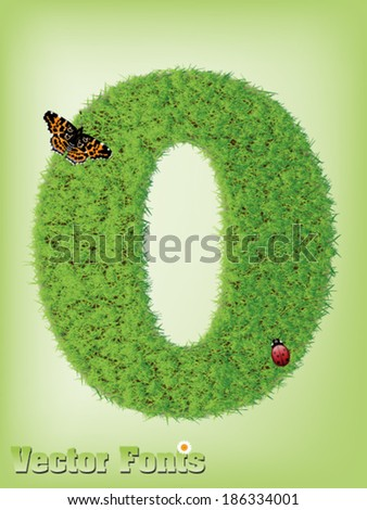 Grass font number 0 - stock vector