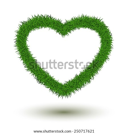 Grass heart isolated on white background. - stock vector