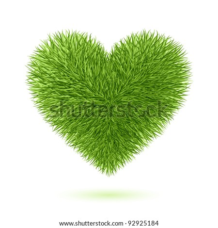 Grass heart symbol. Vector. - stock vector