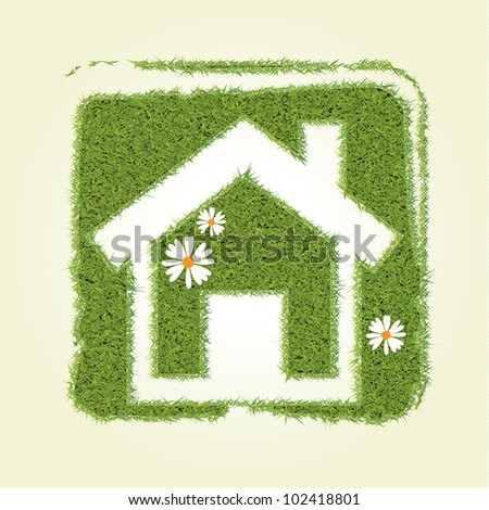 Grass home icon - stock vector