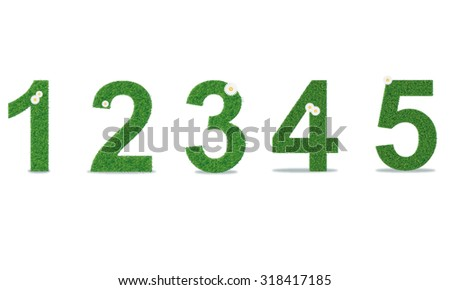 Grass numbers 1-5. Vector illustration - stock vector