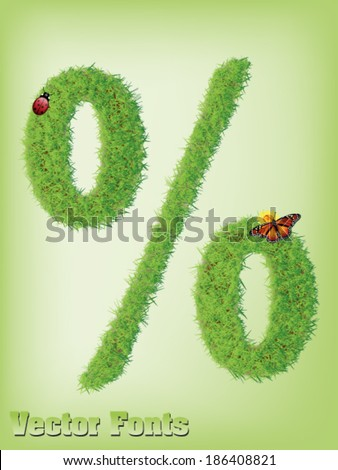grass Percent or discount sign vector - stock vector