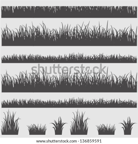 Grass silhouette elements .Vector