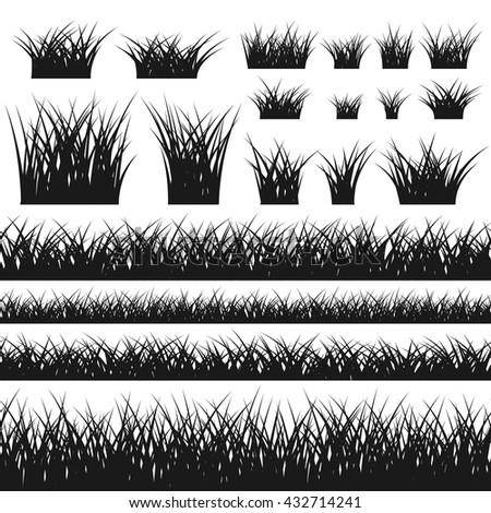 Grass silhouette seamless pattern and bushes. Nature background. Black contour, isolated on white. Symbol of field, meadow, fresh, summer. Design element environment. Vector illustration.