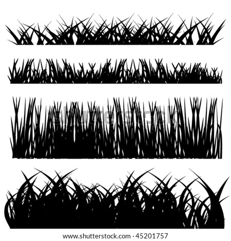 grass silhouette set - stock vector