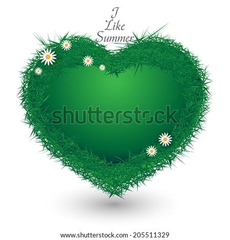 grass summer heart - stock vector