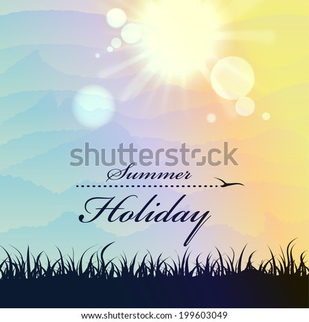 Grass, summer landscape with sun rays. Vector background can be used for postcards, banners, web pages, design element or template illustrations on the theme of traveling. - stock vector