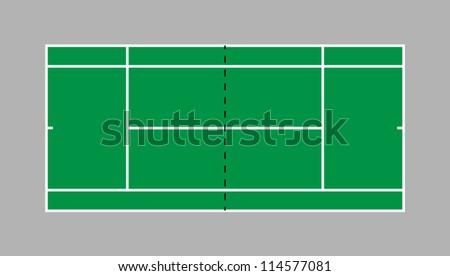 grass tennis court - stock vector