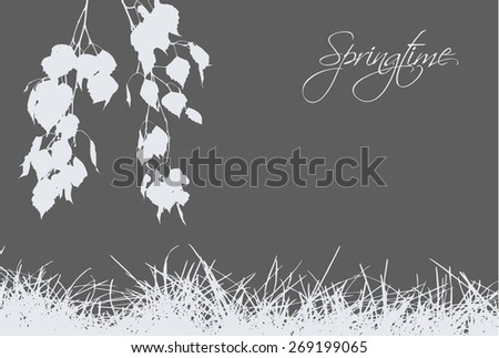 Grass with birch branches on the gray backdrop - stock vector