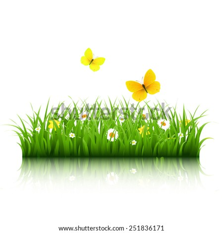 Grass With Butterfly With Gradient Mesh, Vector Illustration - stock vector
