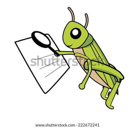 grasshopper reading the paper vector - stock vector
