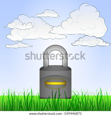 grassy landscape with closed padlock and sky vector illustration