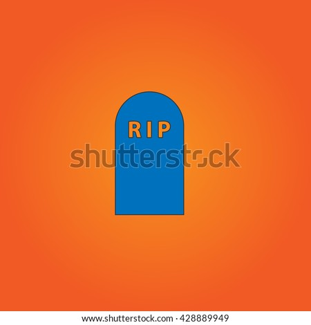 Grave. Blue flat icon with black stroke on orange background. Collection concept vector pictogram for infographic project and logo - stock vector