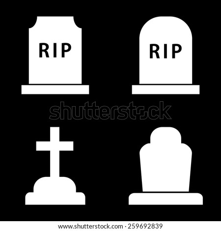 Grave Icons - stock vector