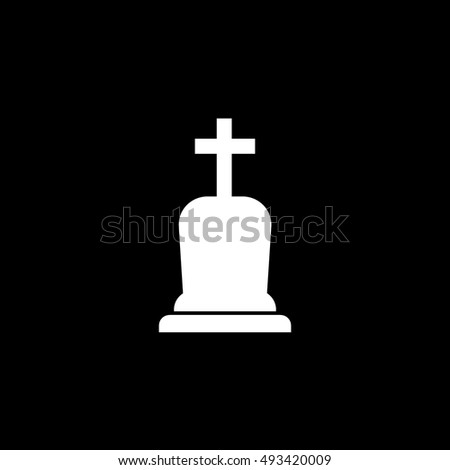 Grave RIP Halloween Concept Flat Icon On Black Background