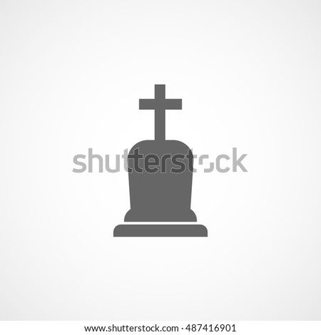 Grave RIP Halloween Concept Flat Icon On White Background