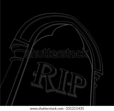 Gravestone background. Halloween vector illustration - stock vector