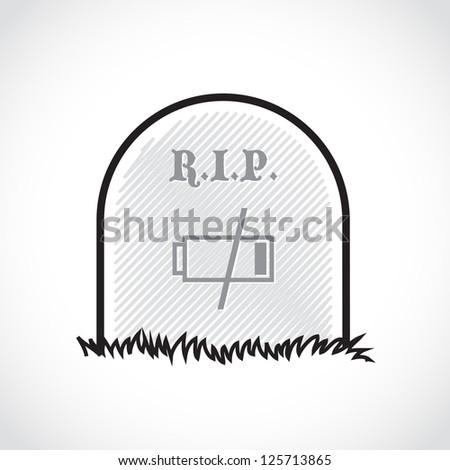 Gravestone, rest in peace, dead battery - illustration - stock vector