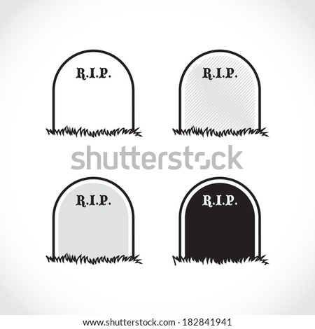 Gravestone - rest in peace - illustration - stock vector
