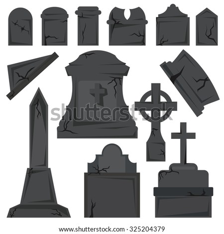 Gravestones on the white background