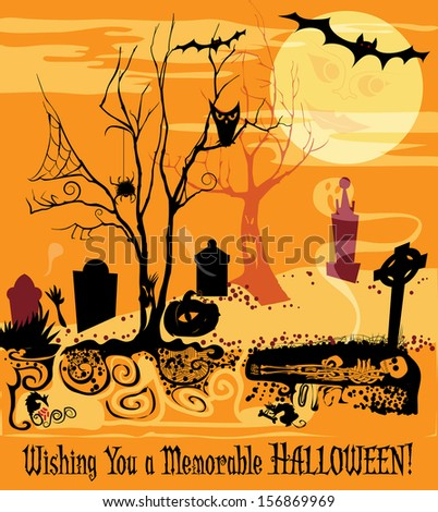 Graveyard scene with Halloween symbols and icons - stock vector
