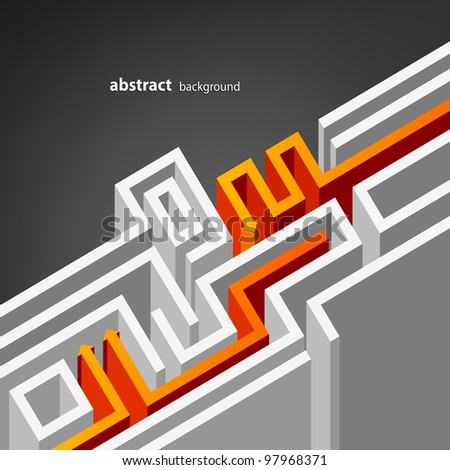 Gray abstract background with labyrinth both orange and white arrows - stock vector