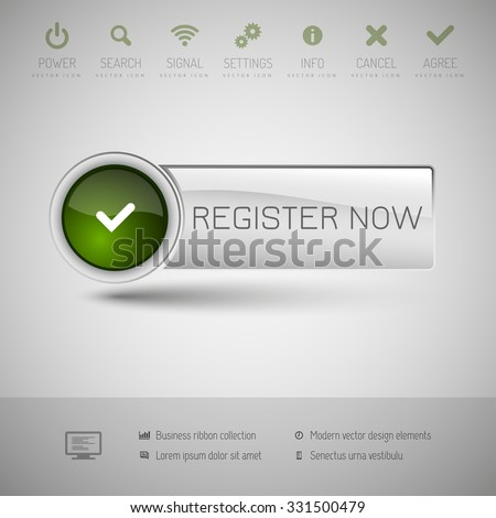 Gray and green glossy button. Vector modern design elements. - stock vector