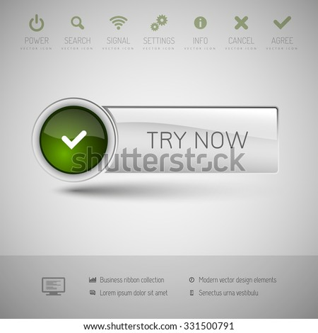 Gray and green glossy button. Vector modern design elements.