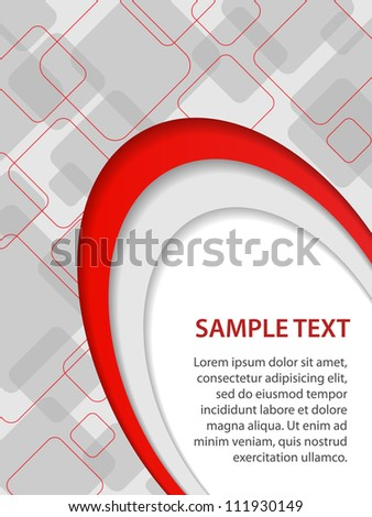 Gray and red business background with curves and rounded squares, vector - stock vector