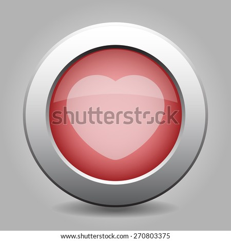 gray and red chrome button - with off white heart - stock vector