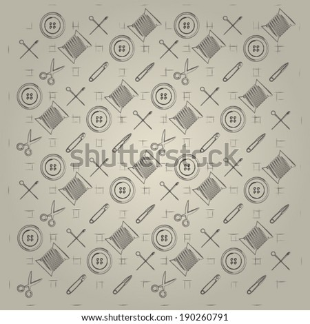Gray background for handmade. Pattern with vintage sewing tools on gray background. - stock vector
